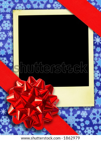 Happy Returns: Christmas. (Aged instant photo And Gift Ribbon Over Snowflakes Background. (With clipping path for easy framing your picture))