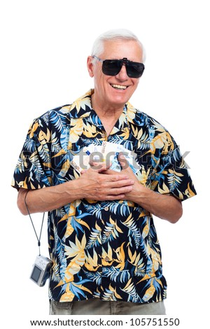 Happy rich senior tourist with money, isolated on white background.