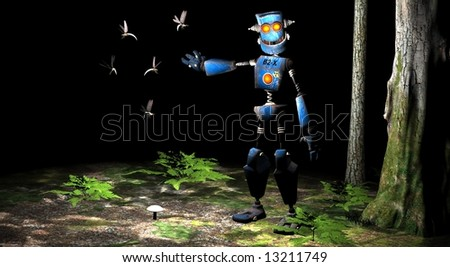 happy robot in woods curious about dragon flys