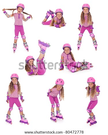 Happy roller skater girl collage, isolated