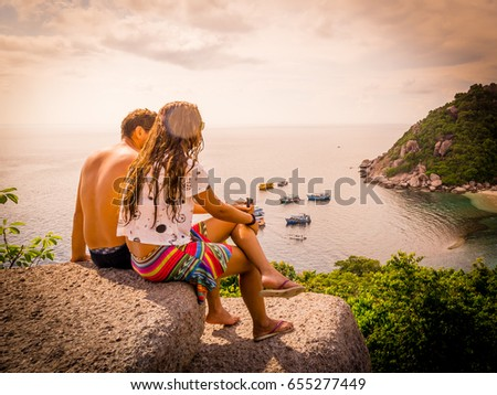 happy romantic couple enjoying...