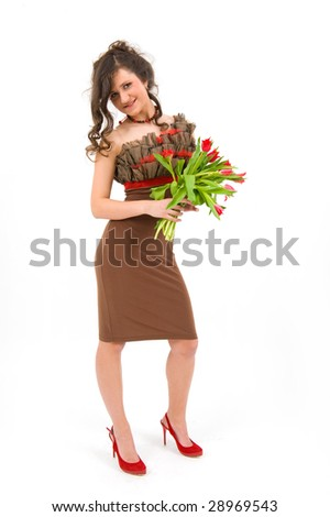 Happy romantic lady with a red flowers