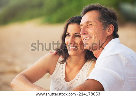 Shutterstock Happy Romantic Mature Couple Enjoying Sunset on the Beach