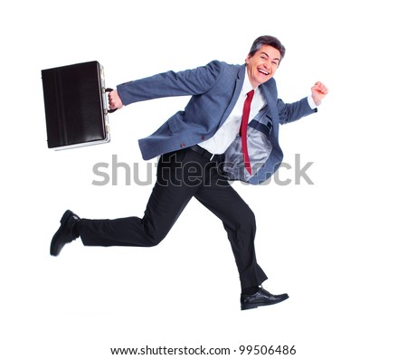 Happy running businessman. Isolated over white background.