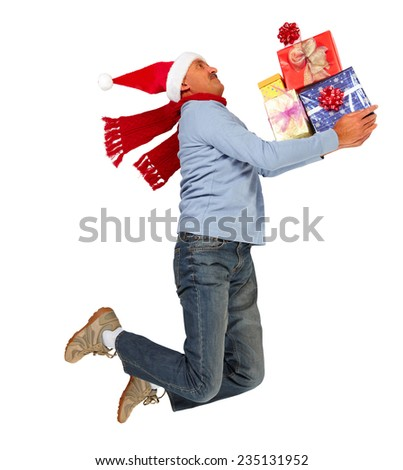 Happy running man with Xmas gifts isolated white background
