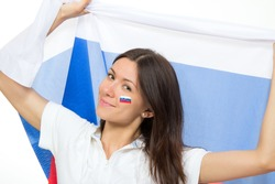 Happy russian soccer fan with russian national flag shouting or yelling cheer for the team on fifa 2014 on a white background