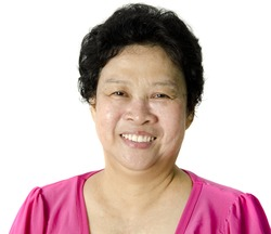 Happy 60s Senior Asian Woman on white background