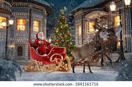 Happy Santa Claus in Christmas sleigh in a town. Unusual Christmas 3d illustration. Merry Christmas and a Happy new year concept