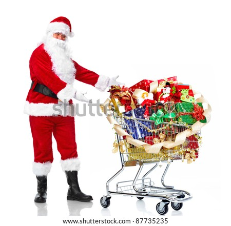 Happy Santa Claus with a shopping cart. Christmas. Isolated on white background.