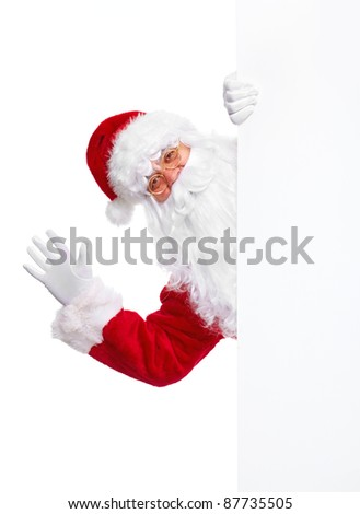 Happy Santa Claus with christmas poster banner.  Isolated on white background.