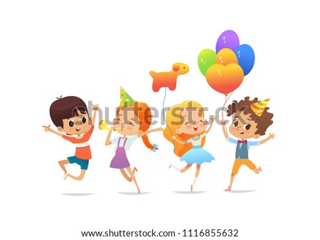 Happy school children with the balloons and birthday hats joyfully jumping with their hands up against white background. Concept of true friendship and birthday party.  Illustration for website banner