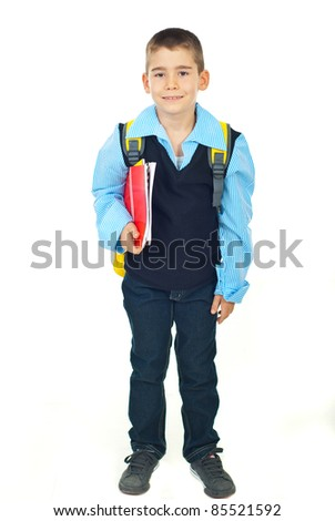 Happy schoolboy holding notebooks and going to school isolate don white background