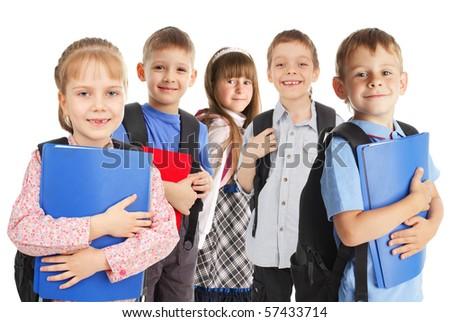 Happy schoolchild isolated on white