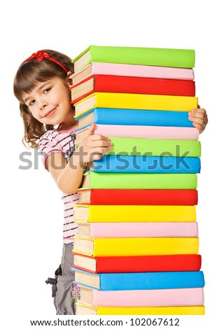 Happy Schoolgirl holding pile of books. Isolated over white