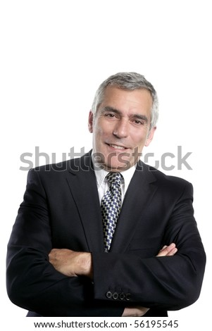 happy senior businessman smiling gray hair black suit white background