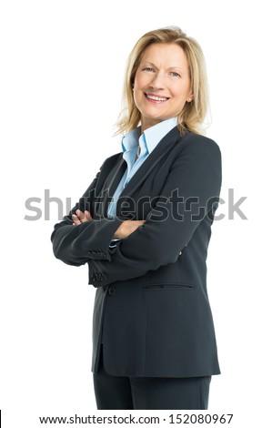 Happy Senior Businesswoman Isolated On White Background #152080967