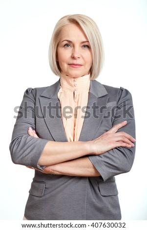 Happy Senior Businesswoman Isolated On White Background #407630032