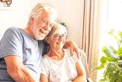Happy senior couple enjoy watching tv. Two adult people retired sitting in the armchair. Bright light from window. Natural plants