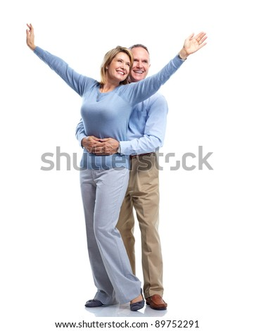 Happy senior couple  in love. Isolated on white background.