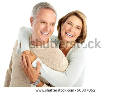 Happy senior couple in love. Isolated over white background