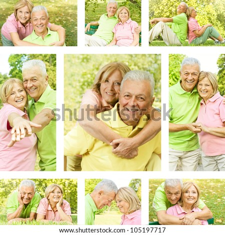 Happy senior couple outdoor collection.