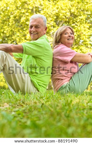 Happy senior couple sitting on grass back to back.