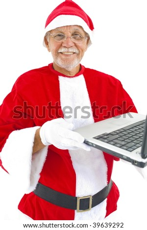 Happy Senior holding a computer laptop .