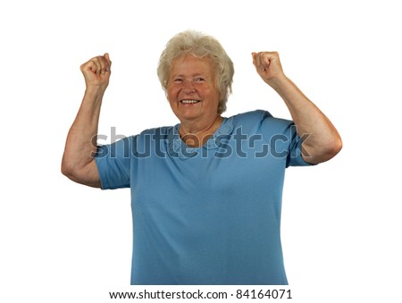 Happy senior lady with arms up, on white background