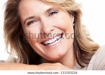 Happy senior woman. Isolated on white background.
