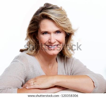 Happy senior woman. Isolated on white background.