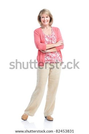 Happy senior woman. Isolated over white background.