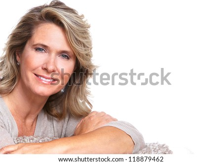 Happy senior woman portrait. Isolated on white background.
