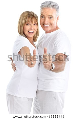 Happy seniors couple in love. Thumbs. Isolated over white background