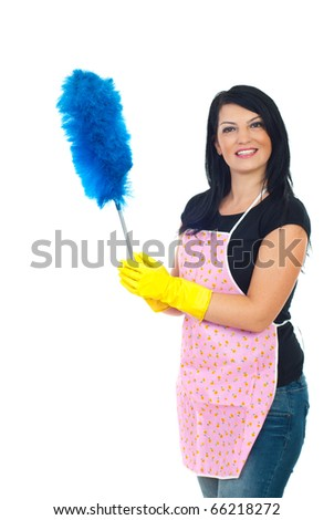 Happy service cleaning woman in pink apron holding blue brush for dust isolated on white background