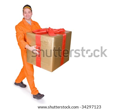 happy serviceman carries gift box