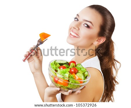 happy sexy woman with salad on white background