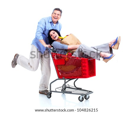 Happy shopping couple. Isolated on white background.