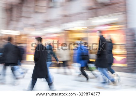 Happy shopping, people walking, motion blur #329874377