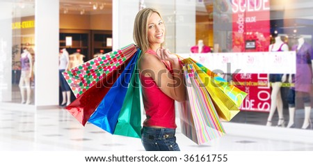 Happy shopping  woman at the mall