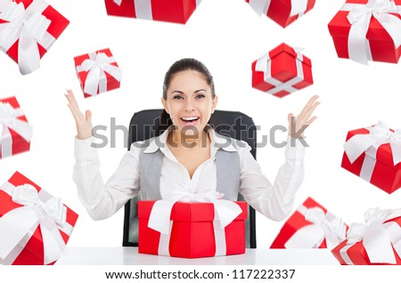 happy smile excited business woman with red gift box sitting at the desk, present fall fly around, isolated over white background, concept of holiday celebrate new year christmas birthday anniversary