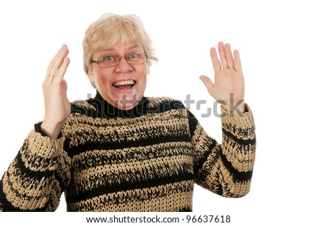 Happy smiling and laughing middle aged woman