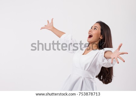 happy smiling asian girl laughing, excited woman, happy woman looking up isolated; happy joyful laughing girl face; excited laughing young woman looking up portrait; asian girl young adult woman model