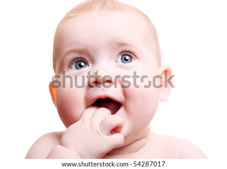 Happy smiling baby on white background.