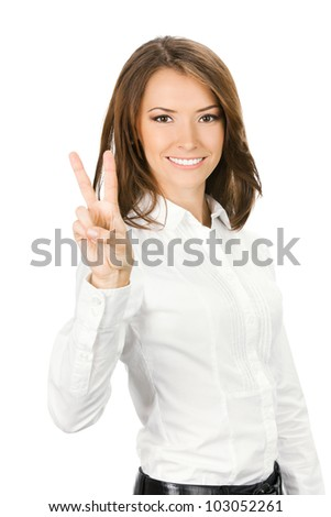 Happy smiling beautiful young business woman showing two fingers or victory gesture, isolated over white background