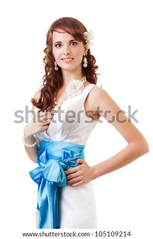 Happy smiling bride in beautiful dress isolated on whtie