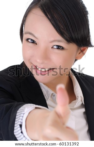 Happy smiling business girl thumbs up, closeup portrait on white background.