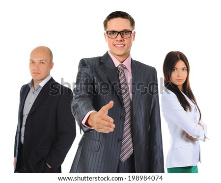 Happy smiling business team. Isolated on white background