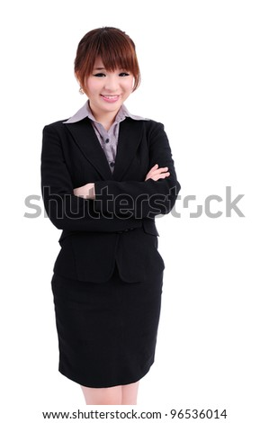 Happy smiling business woman in suit isolated on white background