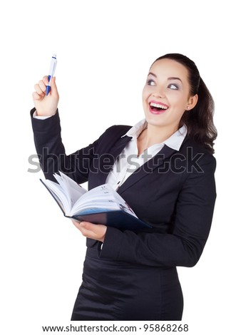 Happy smiling business woman isolated on white background