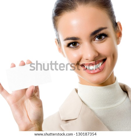 Happy smiling business woman showing blank business card, isolated over white backround